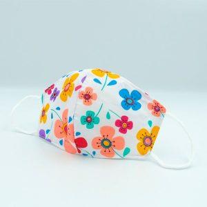 mascarilla 3 capas para niña flores-blanca