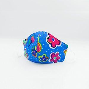Mascarilla style antifluido 3 capas para niña flores azules celeste